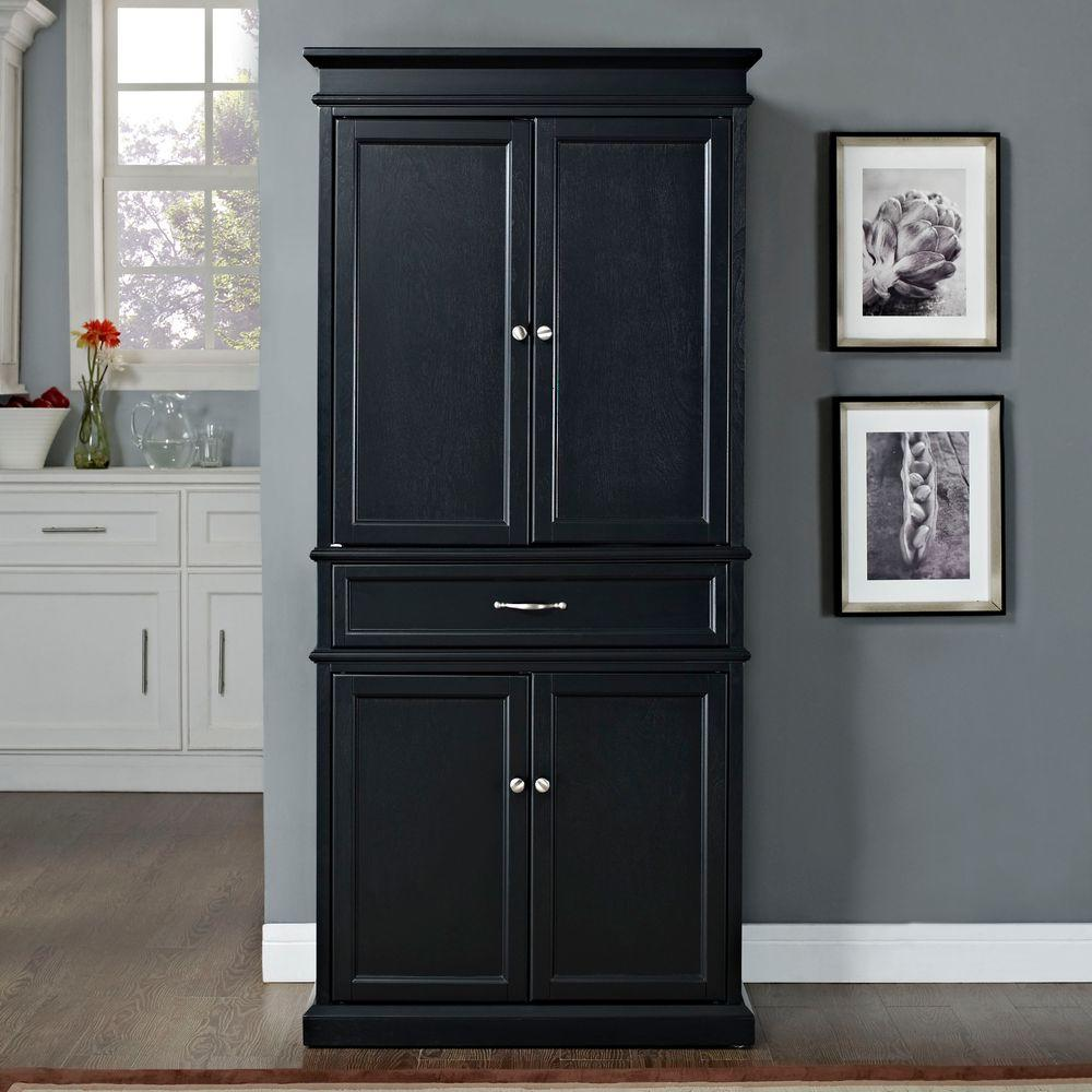 Black kitchen pantry cabinet home furniture design for Kitchen cabinets storage