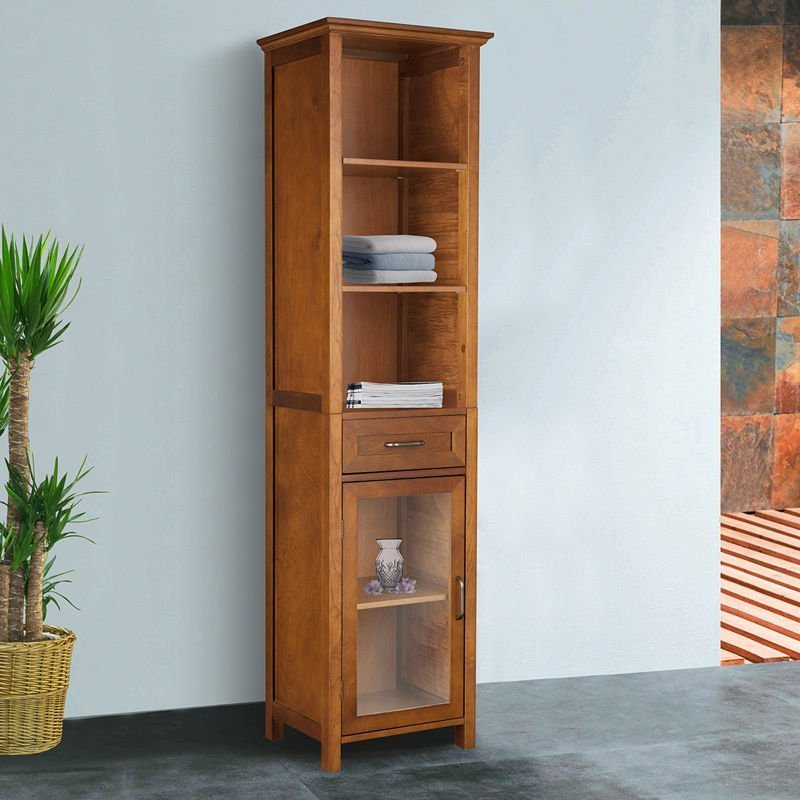 Bathroom storage tower cabinet home furniture design for Oak linen cabinet for bathrooms
