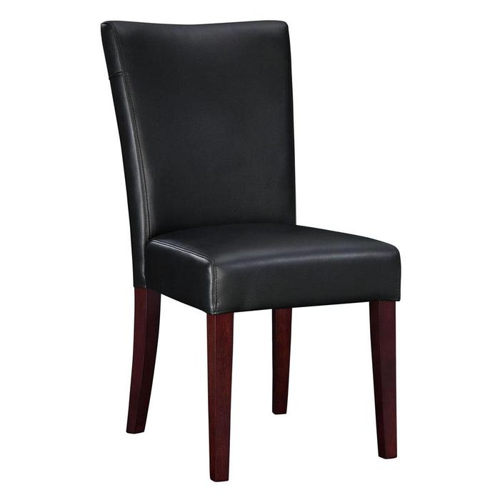 Black leather parsons dining chairs home furniture design for Black leather parsons chairs