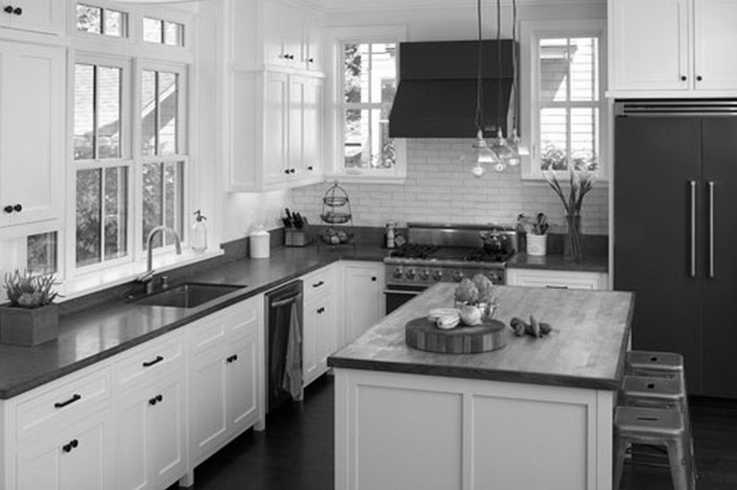 Black and white kitchen cabinets home furniture design for Kitchen designs with white cupboards
