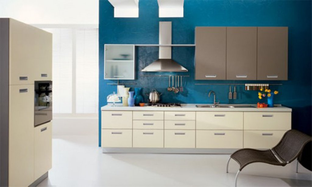 blue kitchen white cabinets home furniture design. Black Bedroom Furniture Sets. Home Design Ideas