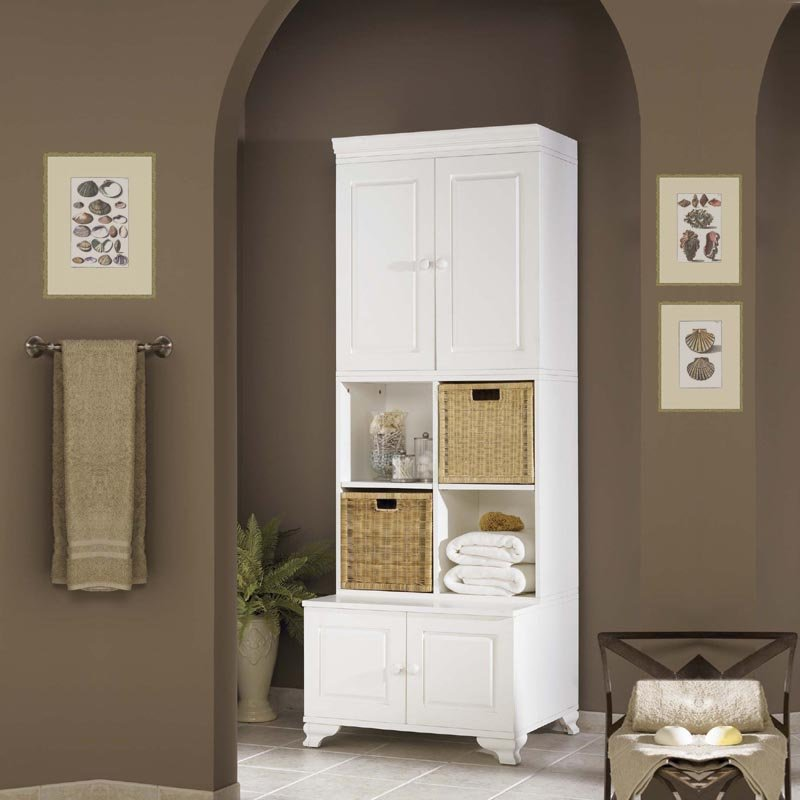 Cheap bathroom storage cabinets home furniture design for Large white bathroom cabinet