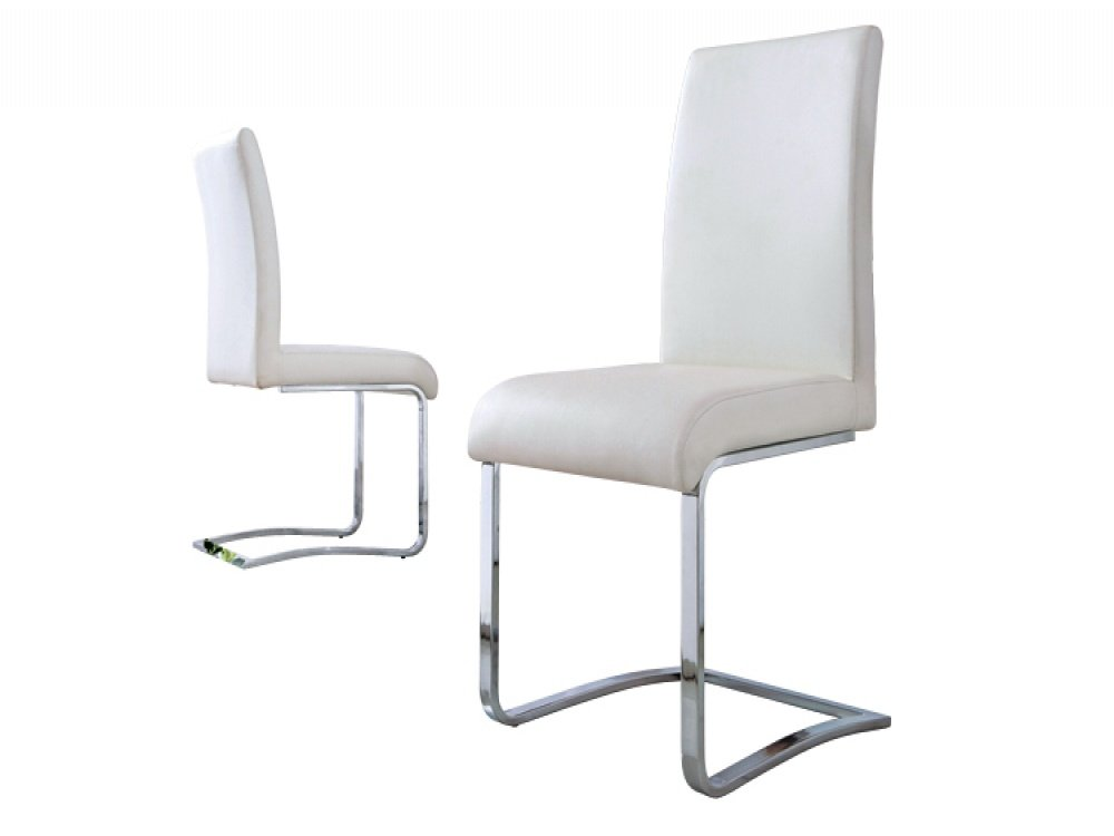 Cheap white faux leather dining chairs home furniture design for Affordable modern dining sets