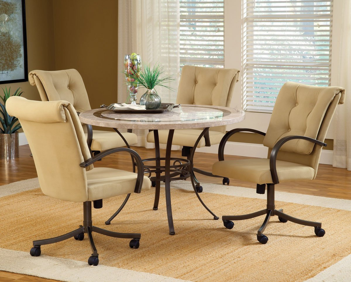 dining room sets with upholstered chairs with casters home furniture