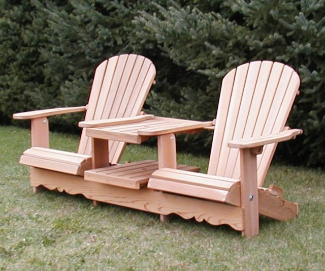 Double Adirondack Chair With Table Home Furniture Design