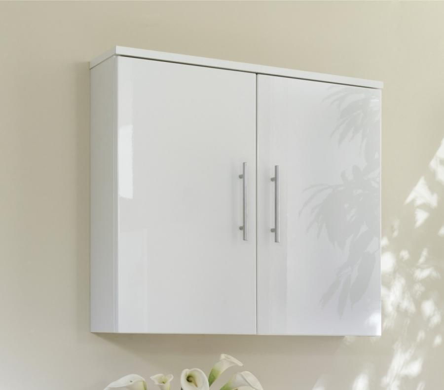 Gloss white bathroom wall cabinet home furniture design for White gloss kitchen wall cupboards