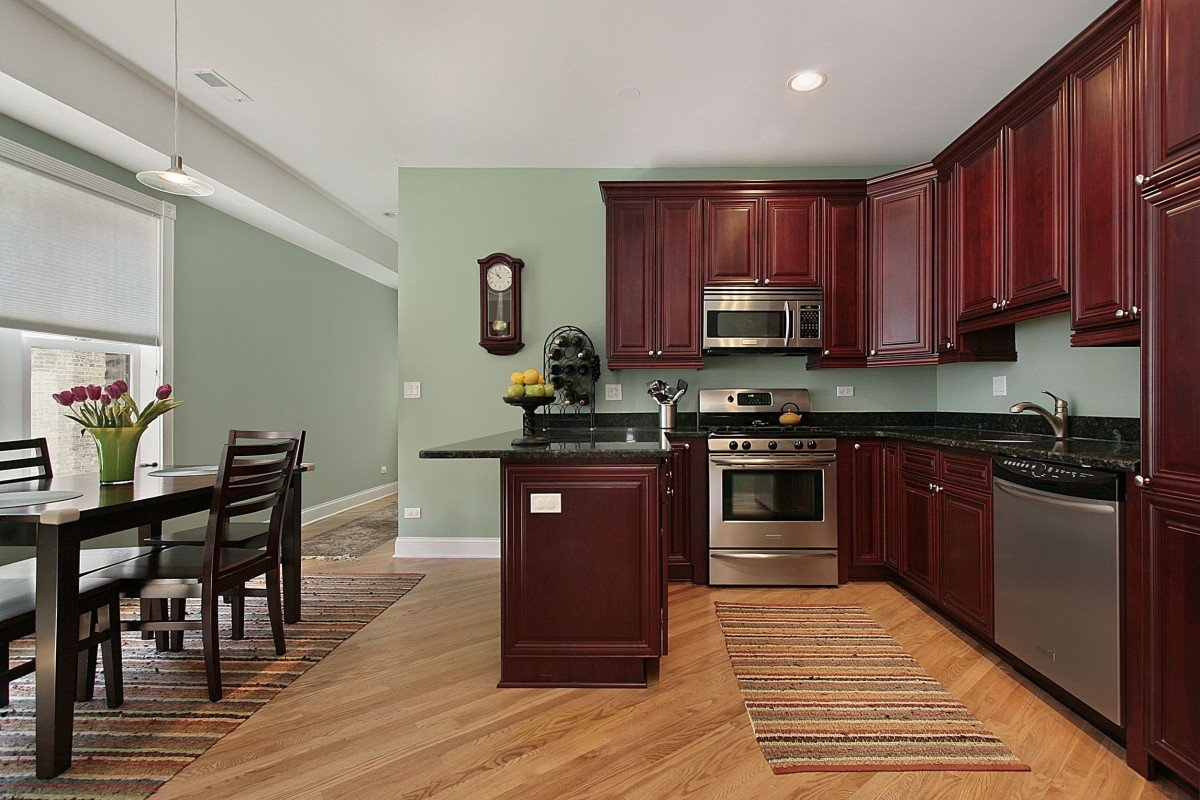 Kitchen paint colors with cherry cabinets home furniture for Dark wood cabinets small kitchen