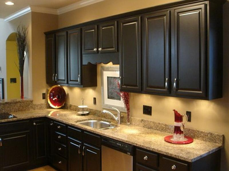 Kitchen paint colors with dark cabinets home furniture for Good kitchen paint colors