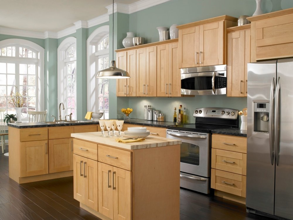 Kitchen paint colors with maple cabinets home furniture for Dark blue kitchen paint
