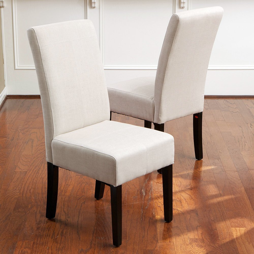 Linen upholstered dining chairs home furniture design for Upholstered linen dining chairs