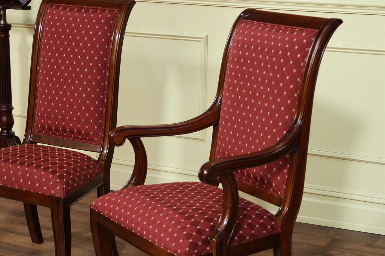 Modern upholstered dining room chairs with arms home for Designer dining room chairs