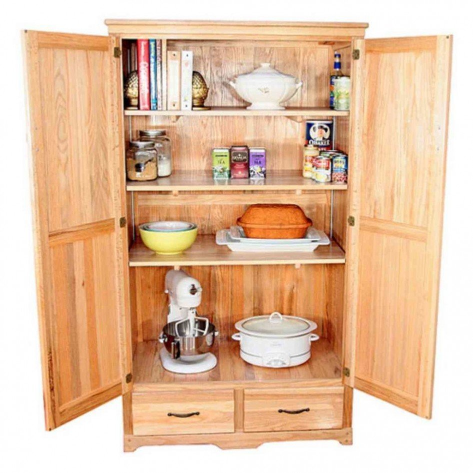 Oak kitchen pantry storage cabinet home furniture design for Kitchen cabinets storage