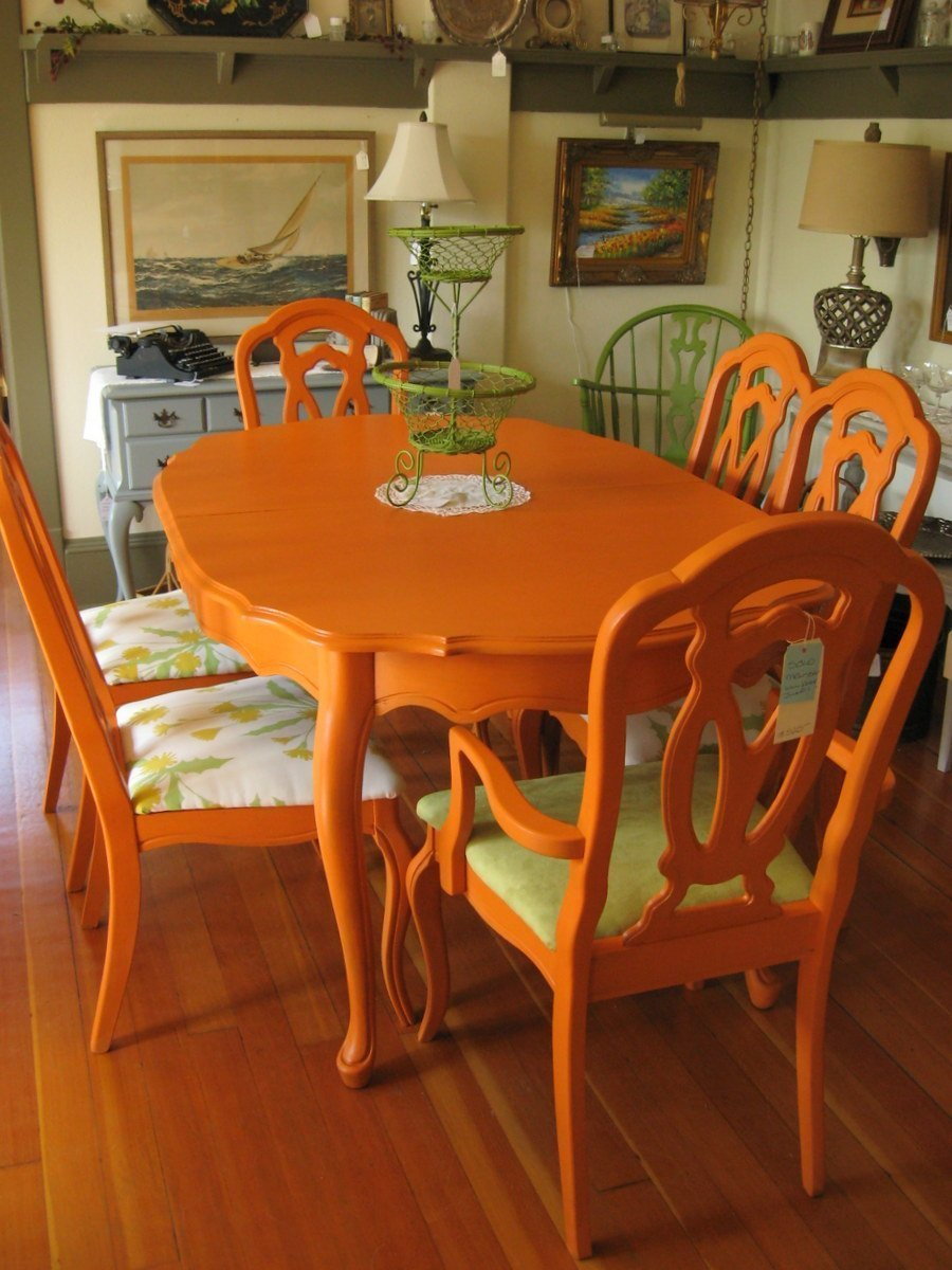 Orange dining room chairs home furniture design for Dining room furnishings