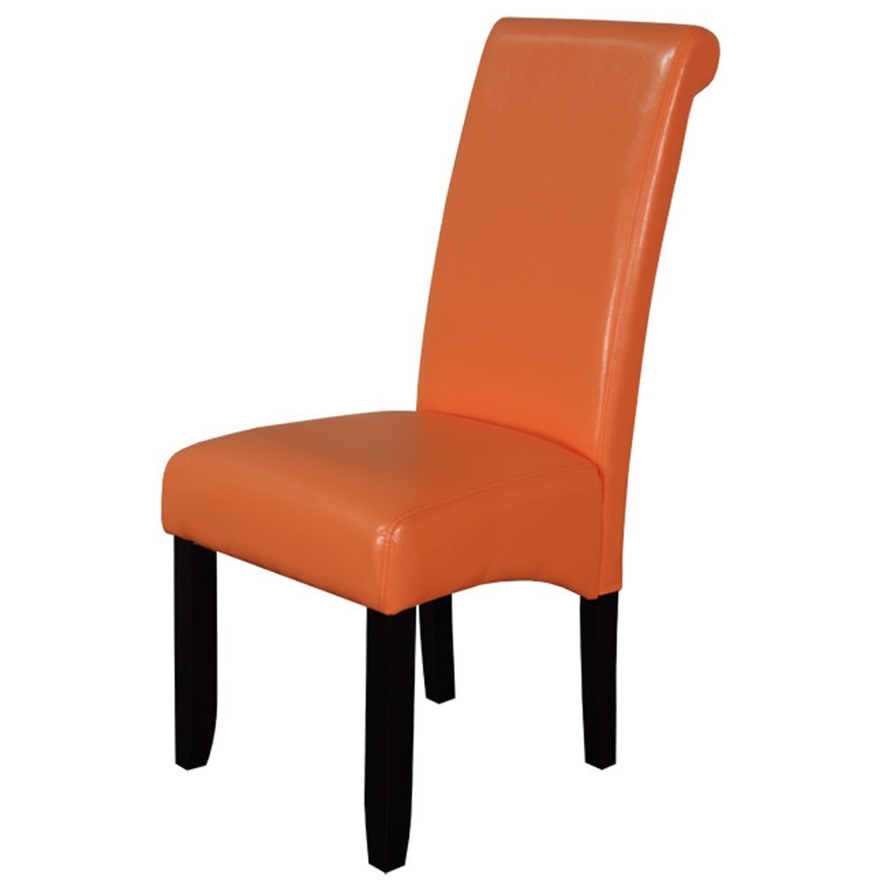 Orange leather dining chairs home furniture design for Leather parsons dining chair