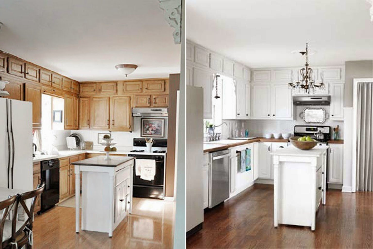 Paint kitchen cabinets white before and after home for Spraying kitchen cabinets white