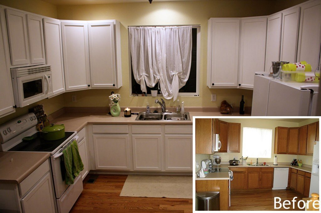 Painting kitchen cabinets white before and after pictures for Cabinets before and after