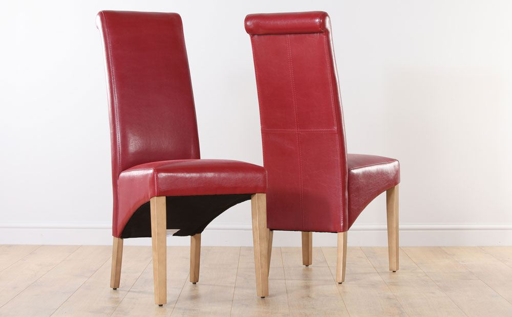 Red leather dining room chairs home furniture design for Red dining room table and chairs