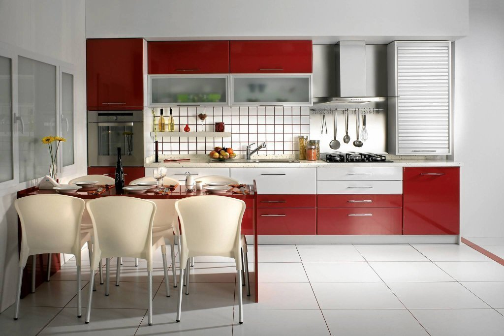 Red And White Kitchen Cabinets Home Furniture Design