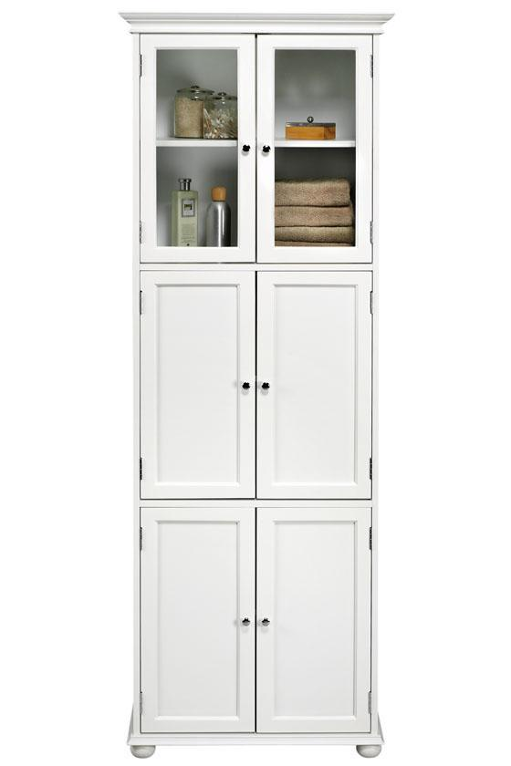 Tall white bathroom storage cabinet home furniture design - Tall bathroom storage cabinets with doors ...