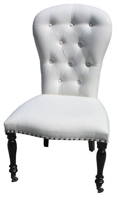 White Upholstered Dining Room Chairs with Casters - Home ...