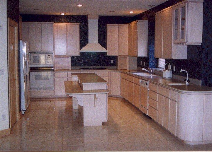 White Washed Birch Kitchen Cabinets