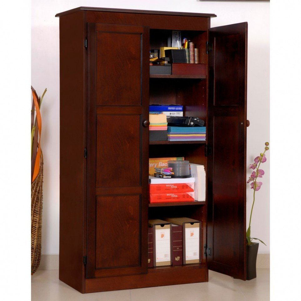 Dark wood storage cabinet home furniture design