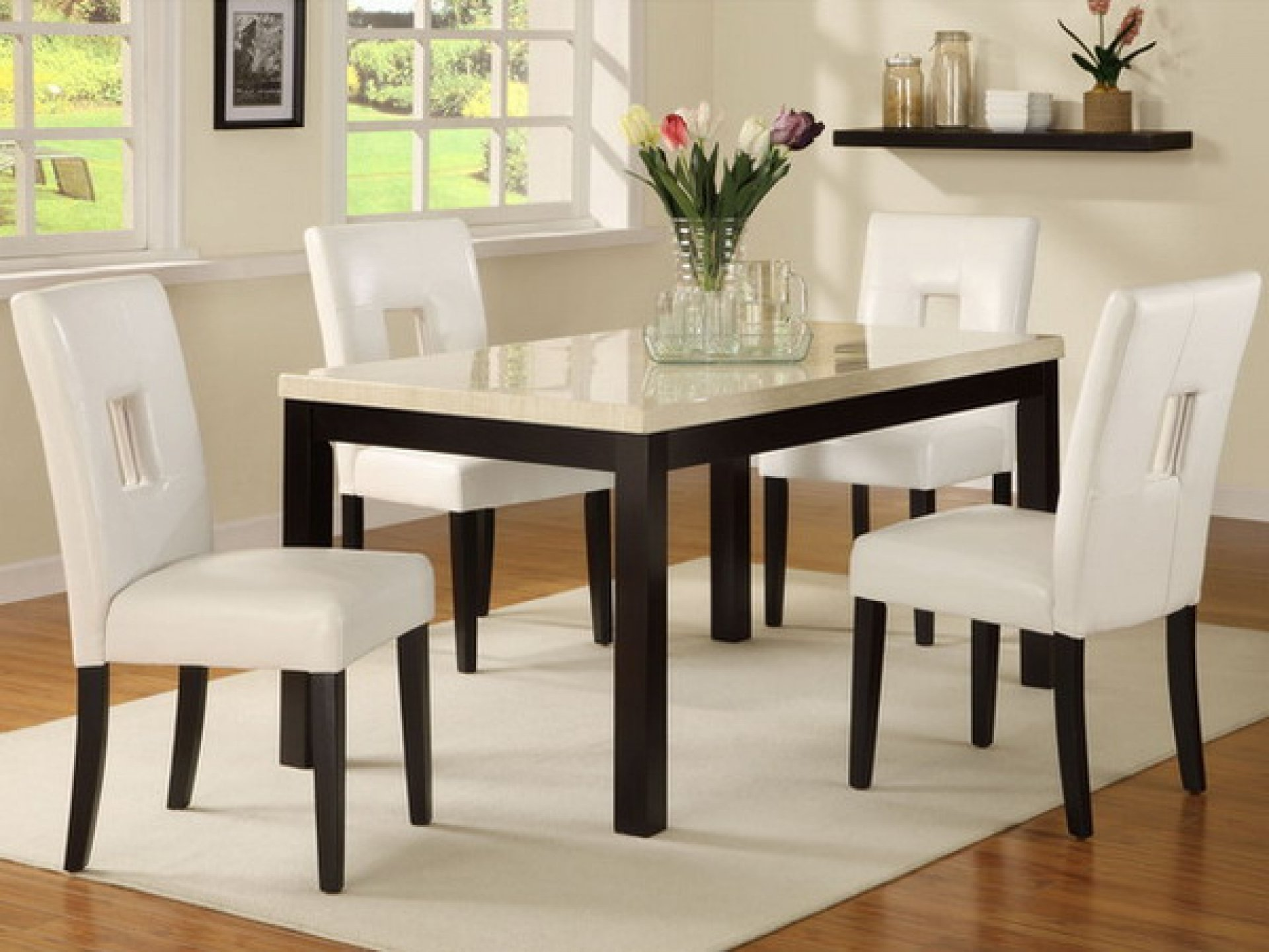 with water dining room table and chair set for