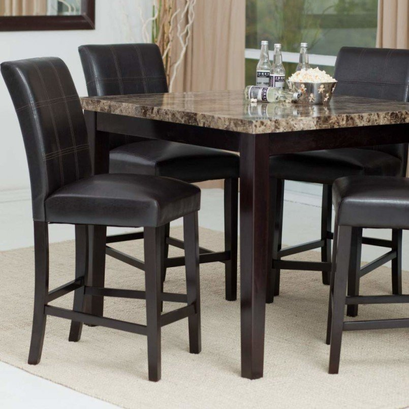 Counter Stools Black Leather