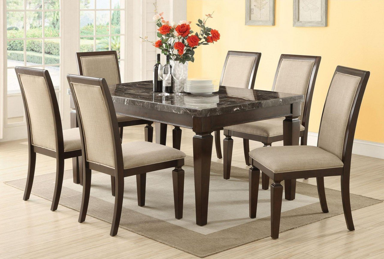 Marble dining room table sets home furniture design for Marble dining room table