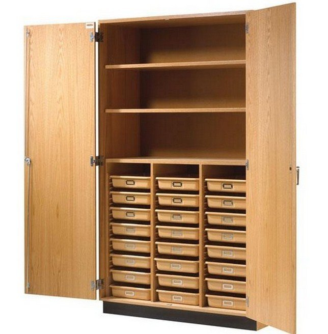 Tall wood storage cabinets with doors and shelves home