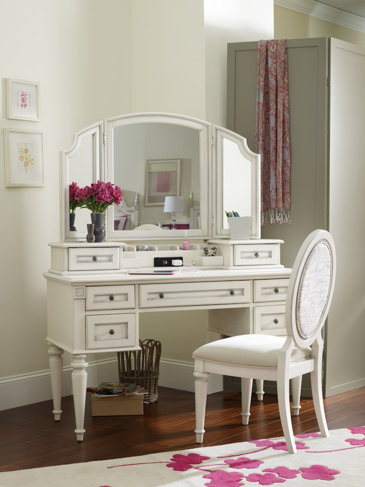 White Desk With Mirror