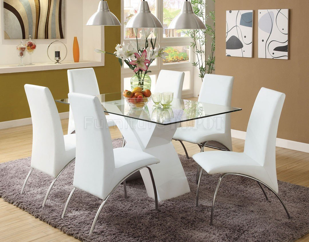 White dining room table set home furniture design for Dining room table and bench set