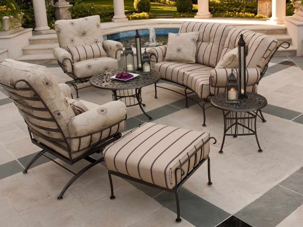 Wrought iron patio furniture cushions home furniture design for Outdoor furniture designers