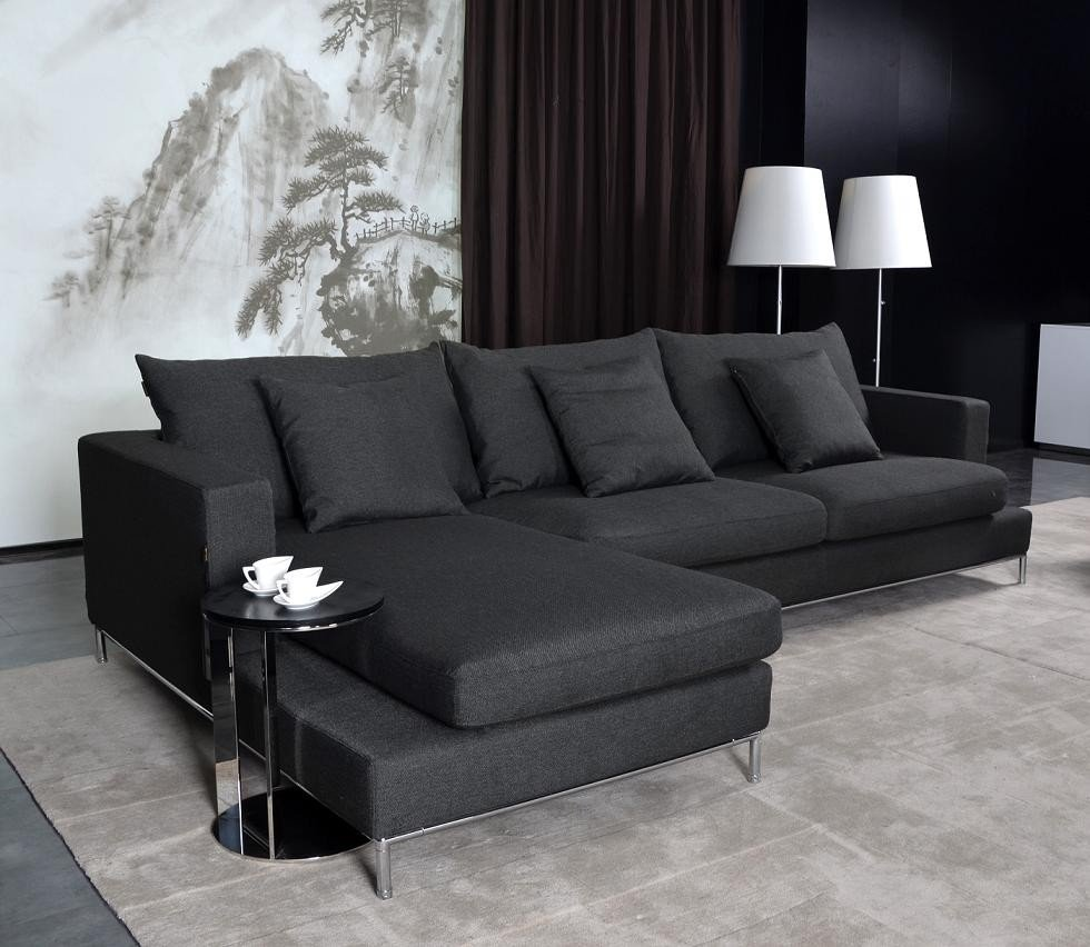 Black fabric sectional sofa home furniture design for Black fabric couches