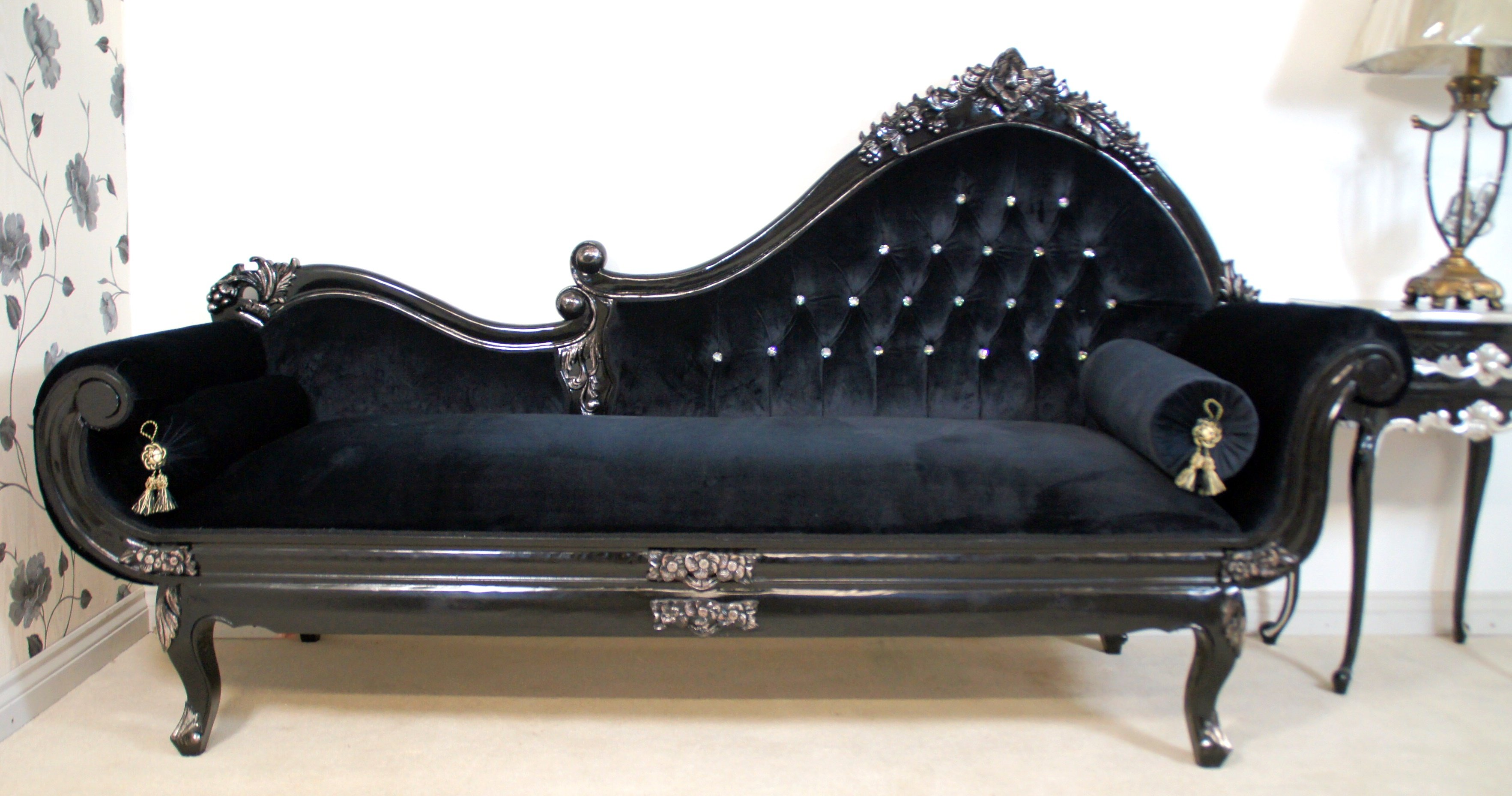 Black velvet sofa home furniture design for Chaise lounge black