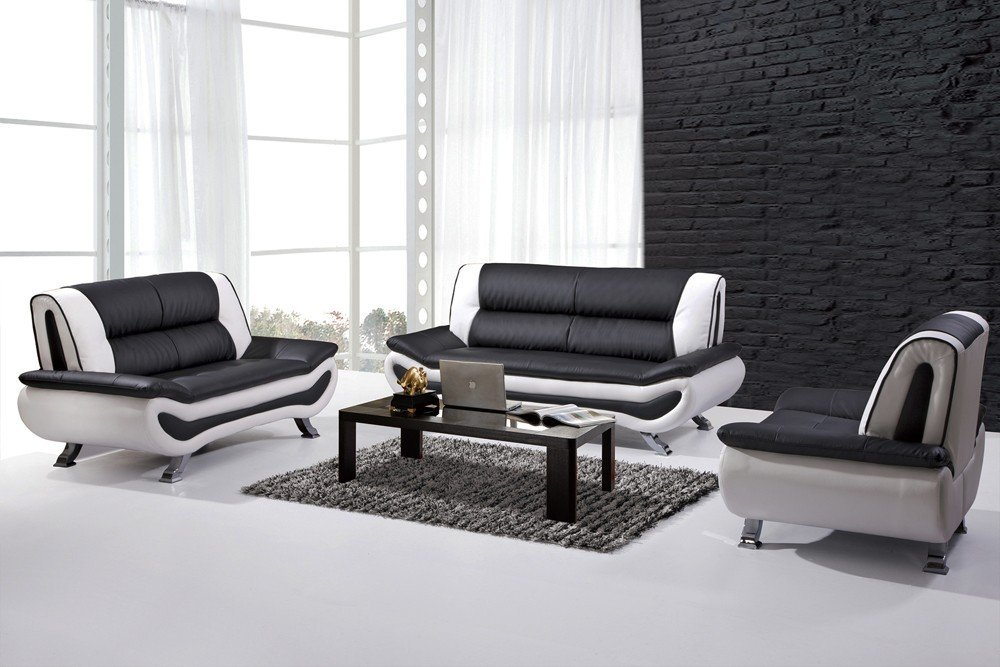 Black and white leather sofa set home furniture design Black sofa decor