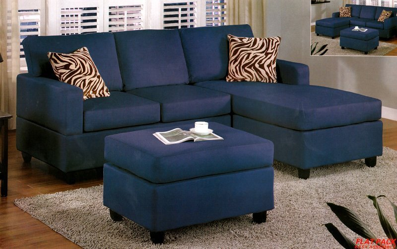 Blue Microfiber Sofa - Home Furniture Design