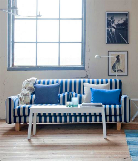 Blue Striped Sofa Home Furniture Design