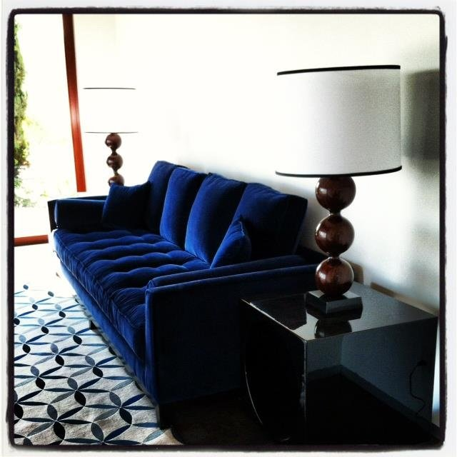 Blue Velvet Tufted Sofa Home Furniture Design