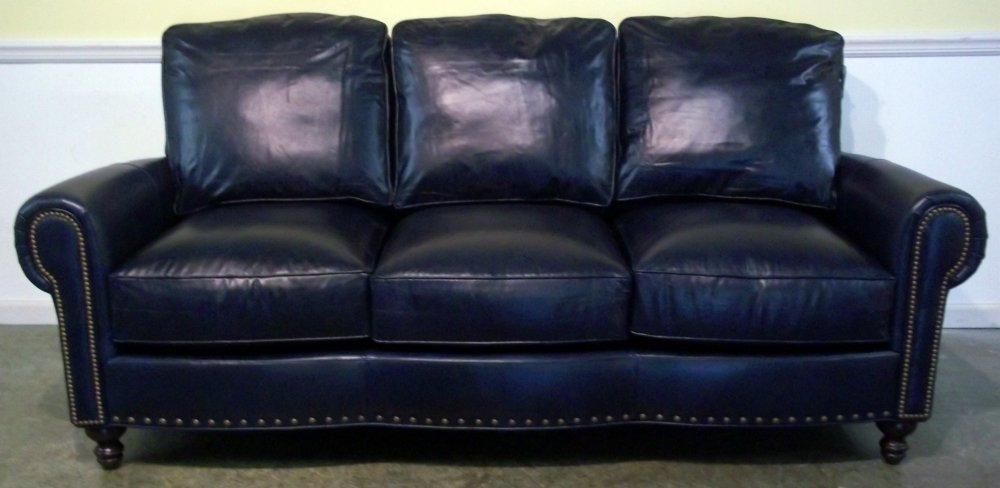 Dark blue leather sofa home furniture design for Blue leather sofa