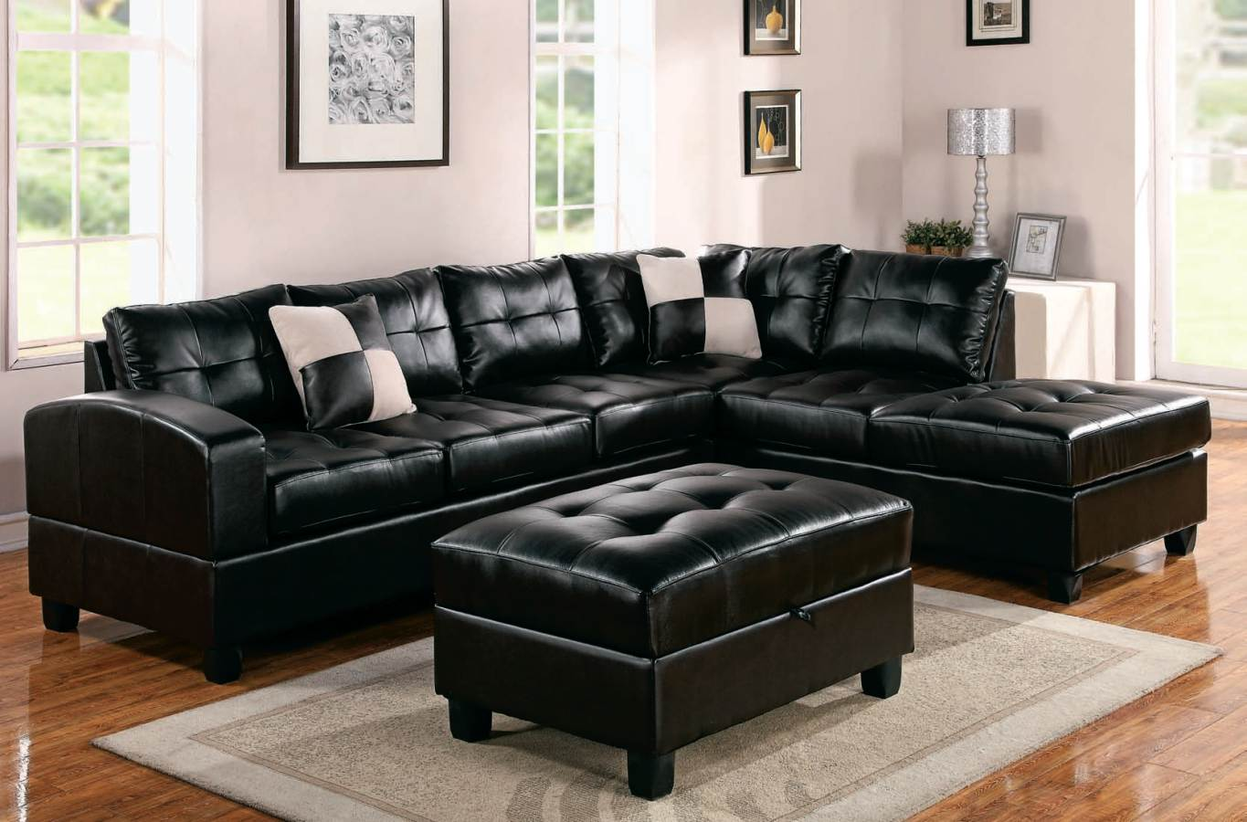 Modern Black Leather Sectional Sofa Home Furniture Design