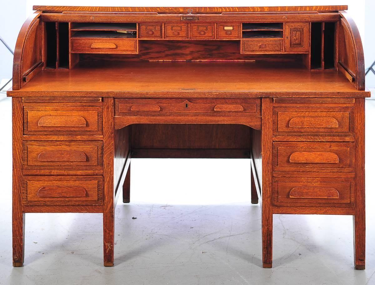 Oak Craft Roll Top Desk Home Furniture Design