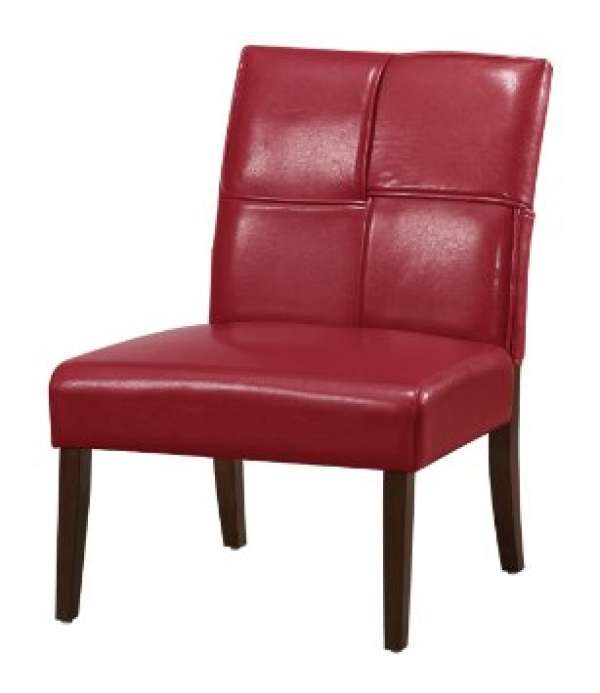 Red Armless Accent Chair Home Furniture Design