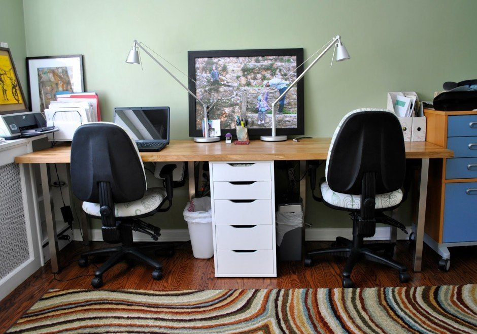 Two person desk making life easier home furniture design Desk for two persons