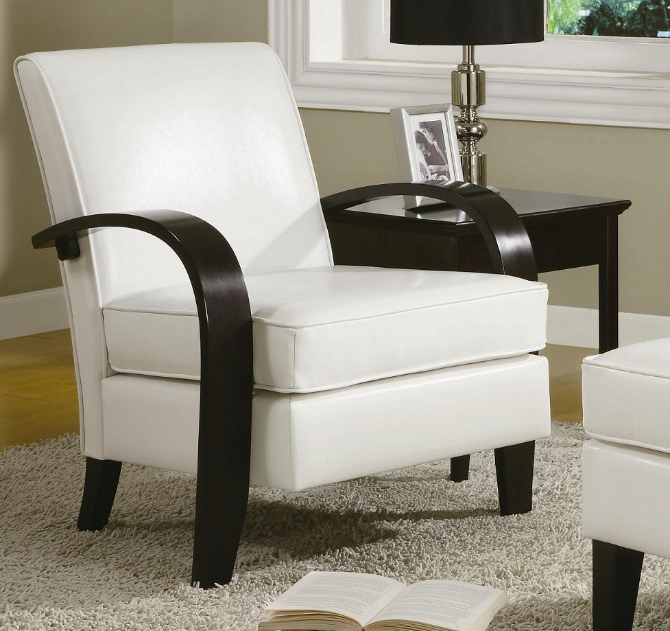 White Leather Sofa And Chair: White Leather Accent Chair