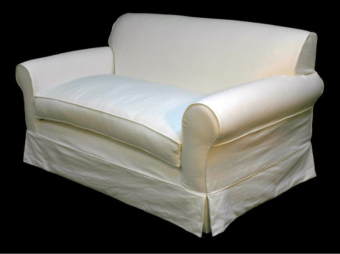 White Slipcovered Loveseat Home Furniture Design