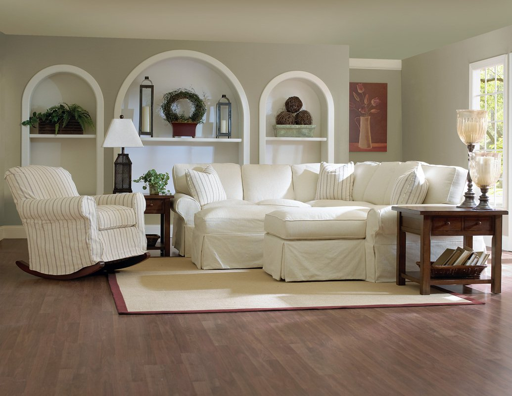 White Slipcovered Sectional Sofa Home Furniture Design