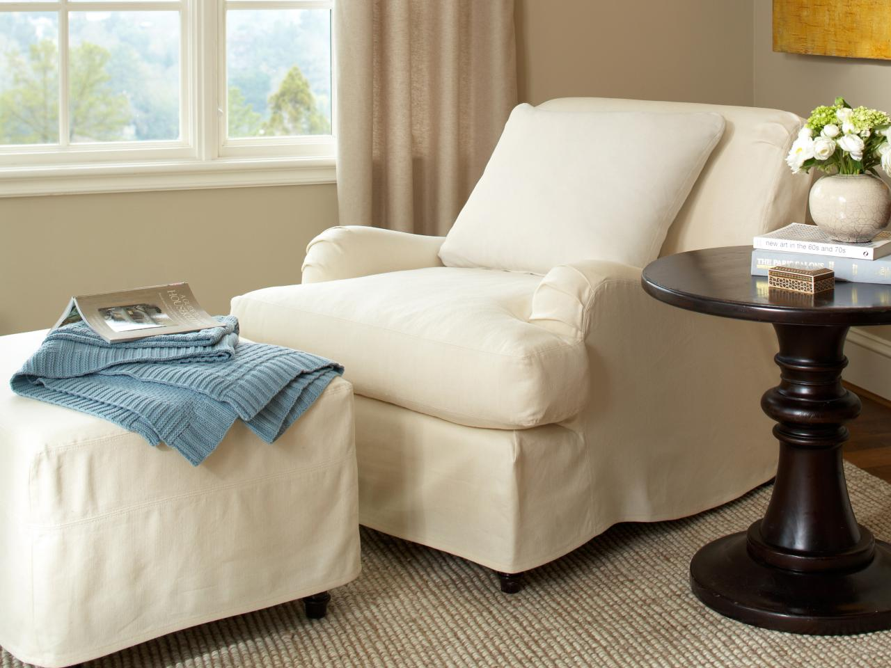 Chair And Ottoman Slipcovers Home Furniture Design