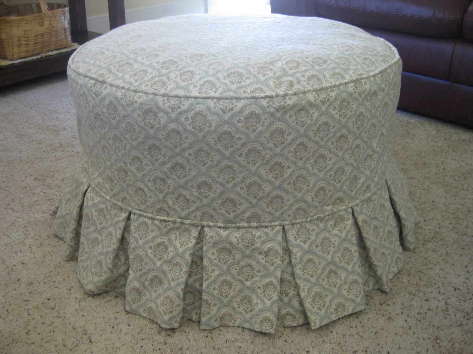 Round Ottoman Slipcover Home Furniture Design