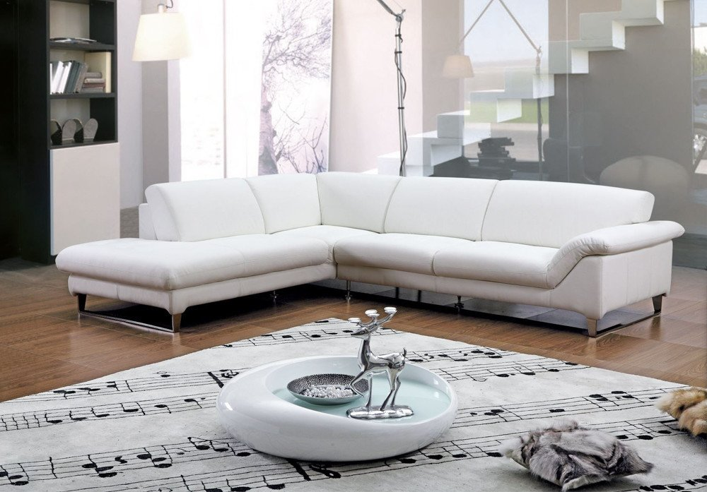White Leather Corner Sofa Home Furniture Design